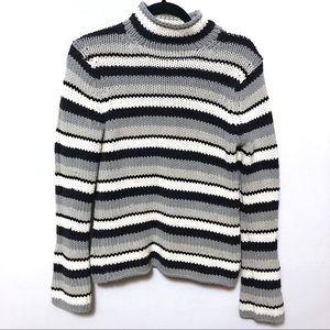 Gap Vintage mockneck sweater stripe grey black